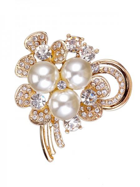 Chic Alloy With Rhinestone/Imitation Pearl Ladies' Brooch