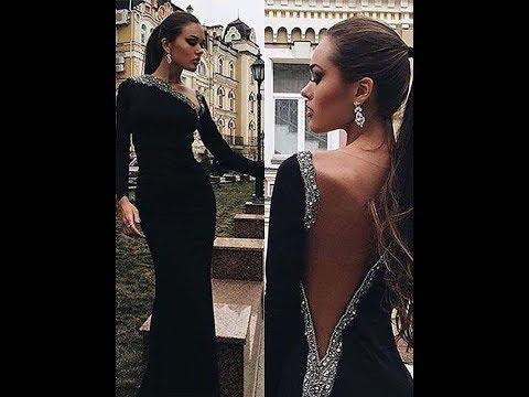 Trumpet/Mermaid Long Sleeves One-Shoulder Satin Beading Sweep/Brush Train Dresses